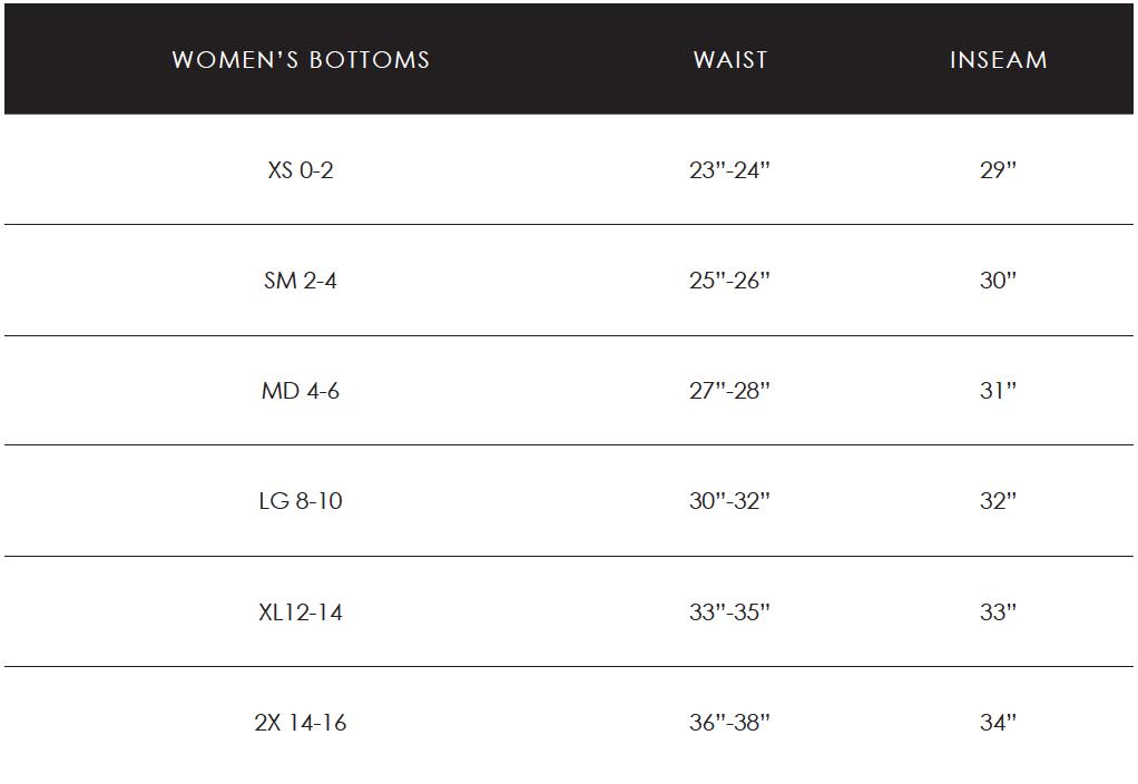 Womens Bottoms Size Chart